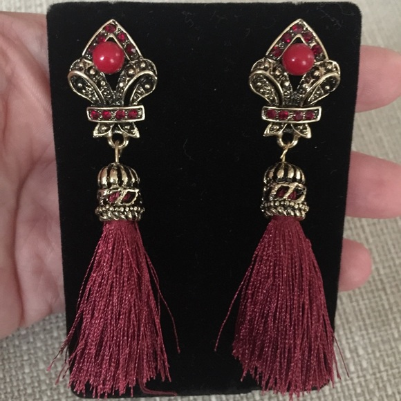 04c5d7d81 bebe Jewelry | Red Gold Tassel Earrings Boho Chic Glamour Prom ...